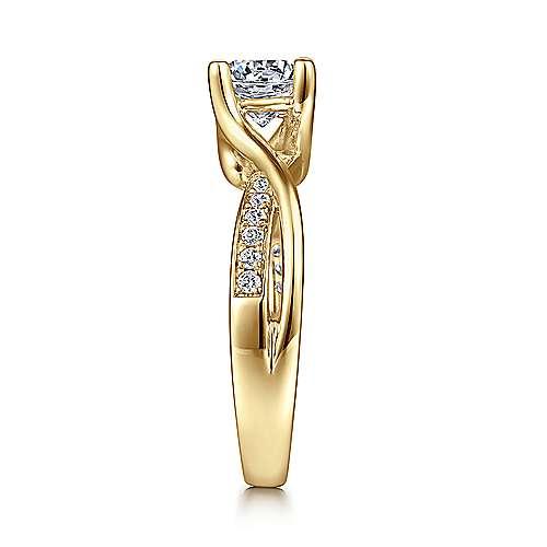 14k Yellow Gold Diamond Bypass Engagement Ring angle 5