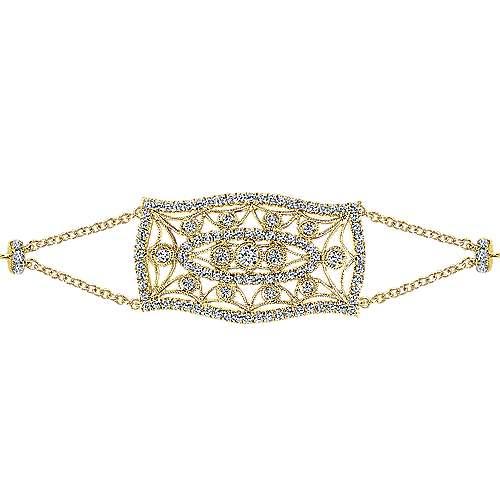 14k Yellow Gold Diamond Chain Bracelet angle 2