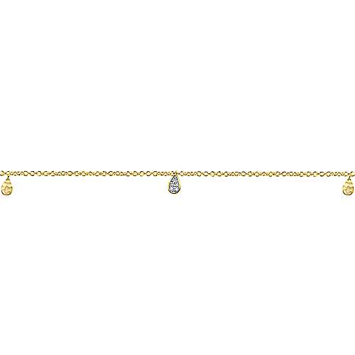 14k Yellow Gold Diamond Chain Bracelet angle 2