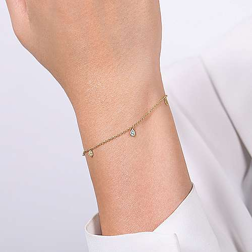 14k Yellow Gold Diamond Chain Bracelet angle 3