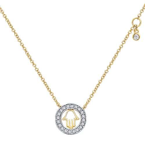 14k Yellow Gold Diamond Circle Cutout Hamsa Necklace