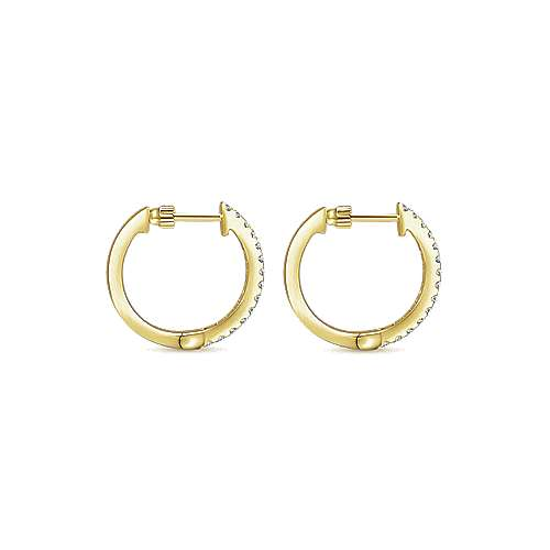 14k Yellow Gold Diamond Classic Hoop Earrings angle 2
