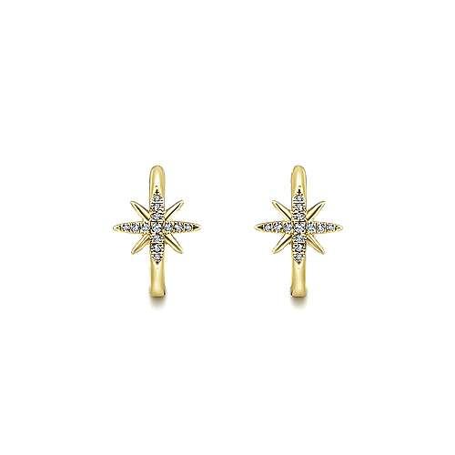 14k Yellow Gold Diamond Classic Hoop Earrings angle 3