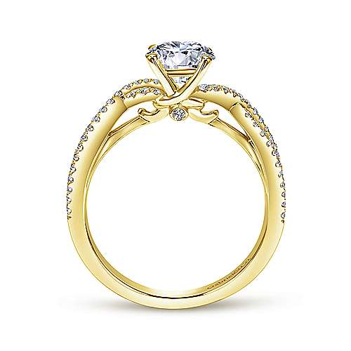 14k Yellow Gold Diamond Criss Cross Engagement Ring angle 2