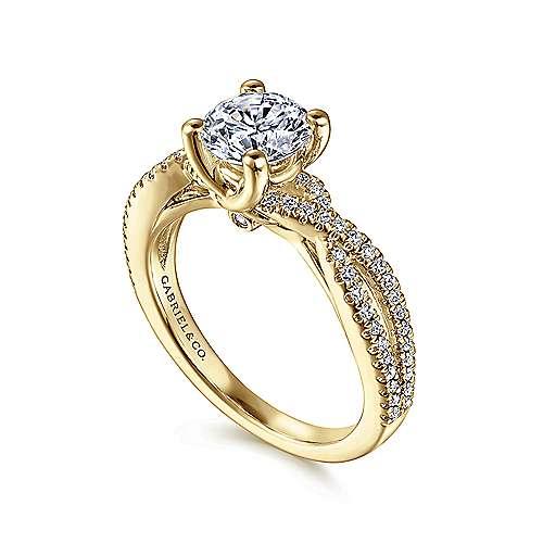14k Yellow Gold Diamond Criss Cross Engagement Ring angle 3