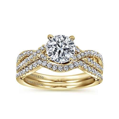 14k Yellow Gold Diamond Criss Cross Engagement Ring angle 4