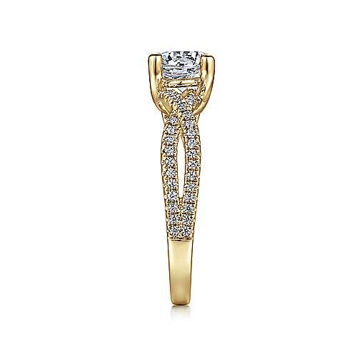 14k Yellow Gold Diamond Criss Cross Engagement Ring angle 5