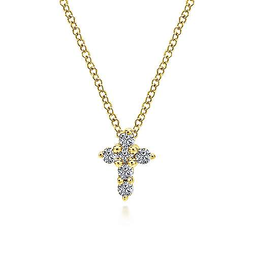 14k Yellow Gold Diamond Cross Necklace angle 1