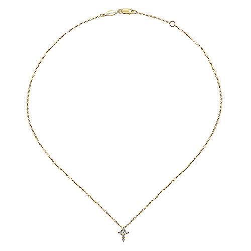 14k Yellow Gold Diamond Cross Necklace angle 2