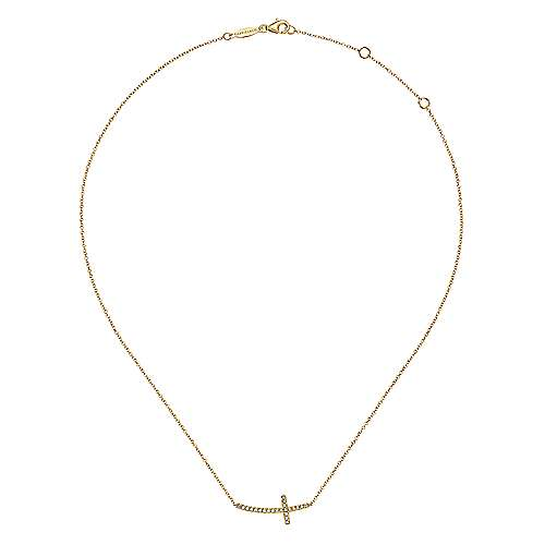 14k Yellow Gold Diamond Cross Necklace angle 2