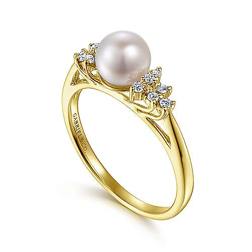14k Yellow Gold Diamond Cultured Pearl Fashion Ladies