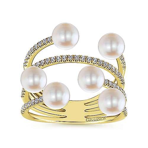 14k Yellow Gold Diamond Cultured Pearl Fashion Ladies