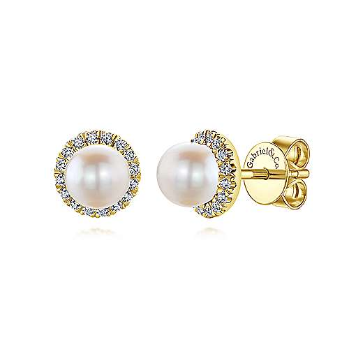 14k Yellow Gold Diamond Cultured Pearl Stud Earrings angle 1