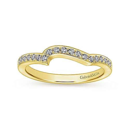 14k Yellow Gold Diamond Curved Wedding Band angle 5