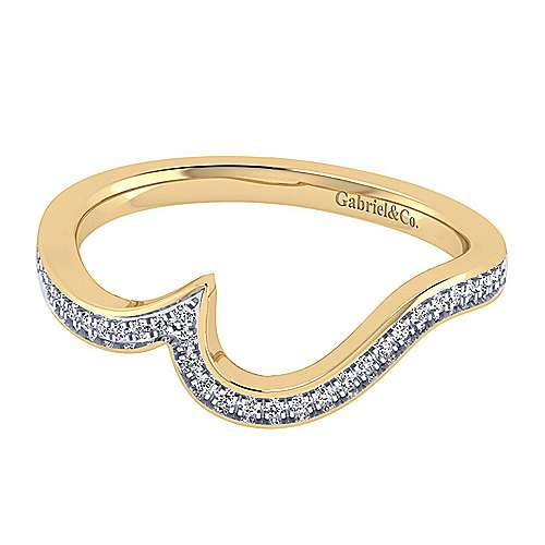 14k Yellow Gold Contemporary Curved