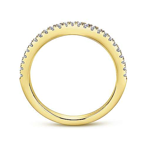 14k Yellow Gold Diamond Curved Wedding Band angle 2