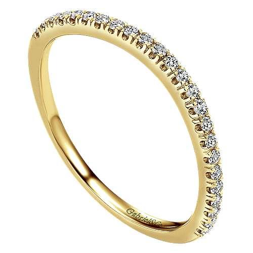 14k Yellow Gold Diamond Curved Wedding Band angle 3
