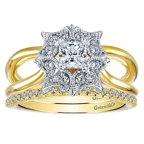 14k Yellow Gold Diamond Curved Wedding Band angle 4