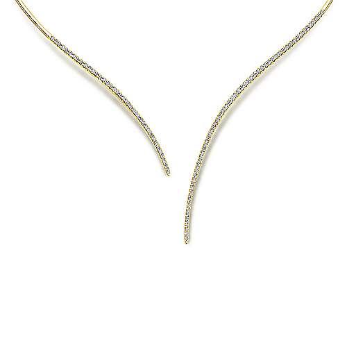 Gabriel - 14k Yellow Gold Cascade Choker Diamond Choker Necklace