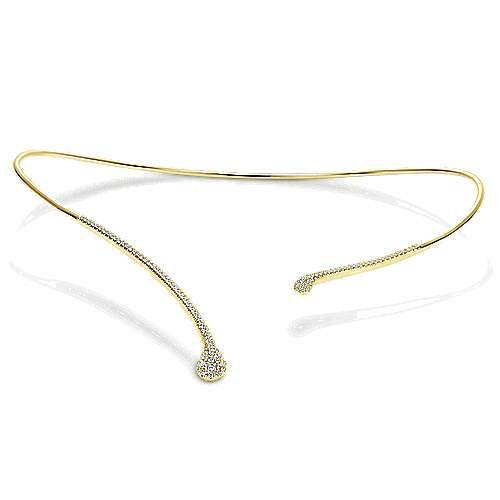 14k Yellow Gold Diamond Diamond Choker Necklace angle 3