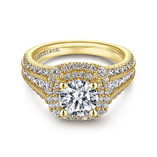 Gabriel - 14k Yellow Gold Round Double Halo Engagement Ring