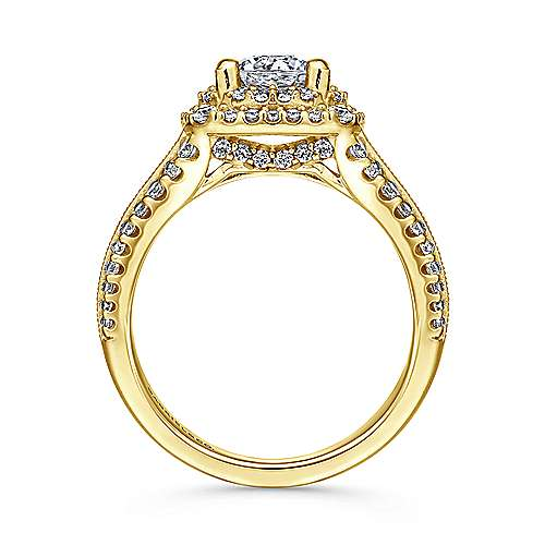14k Yellow Gold Diamond Double Halo Engagement Ring angle 2