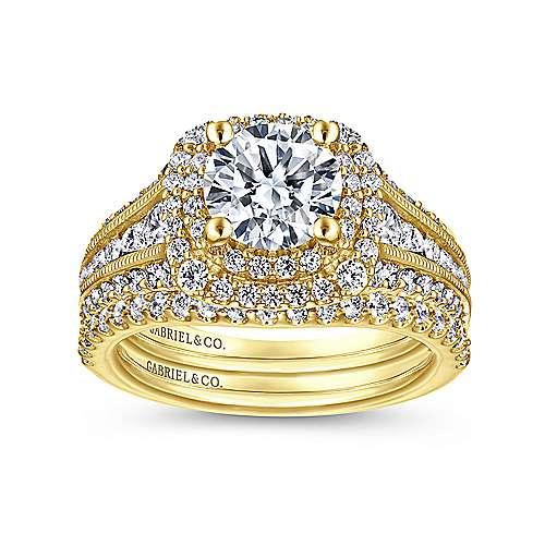 14k Yellow Gold Diamond Double Halo Engagement Ring angle 4
