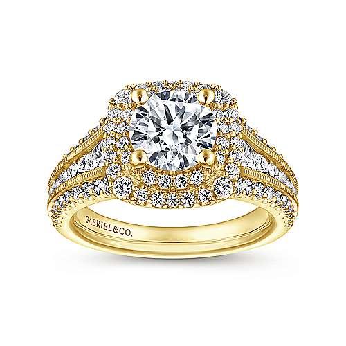 14k Yellow Gold Diamond Double Halo Engagement Ring angle 5