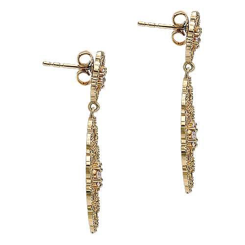 14k Yellow Gold Diamond Drop Earrings angle 3