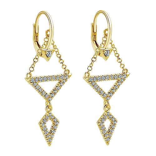 14k Yellow Gold Diamond Drop Earrings angle 2