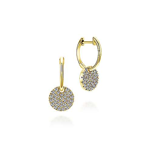 14k Yellow Gold Diamond Drop Earrings angle 1