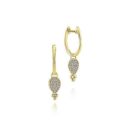 14k Yellow Gold Diamond Drop