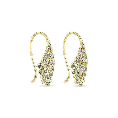 14k Yellow Gold Diamond Drop Earrings angle 2