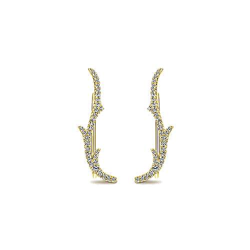 14k Yellow Gold Diamond Earcuffs