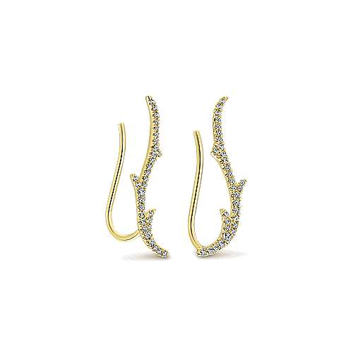 14k Yellow Gold Diamond Earcuffs Earrings angle 2