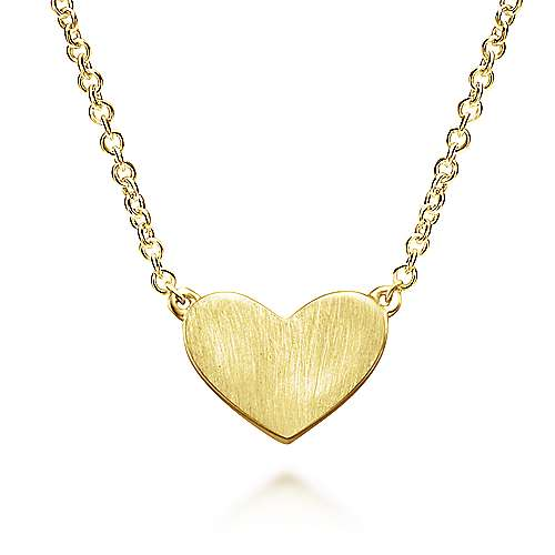 14k Yellow Gold Diamond Engravable Heart Necklace