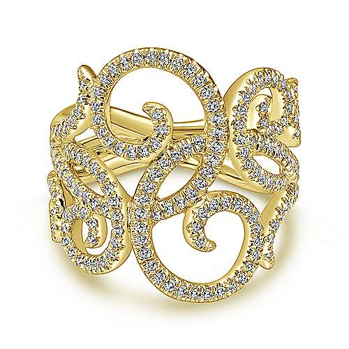 Gabriel - 14k Yellow Gold Flirtation Fashion Ladies' Ring