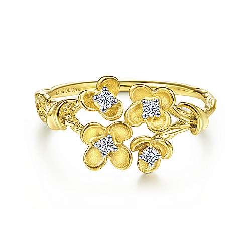 Gabriel - 14k Yellow Gold Floral Fashion Ladies' Ring