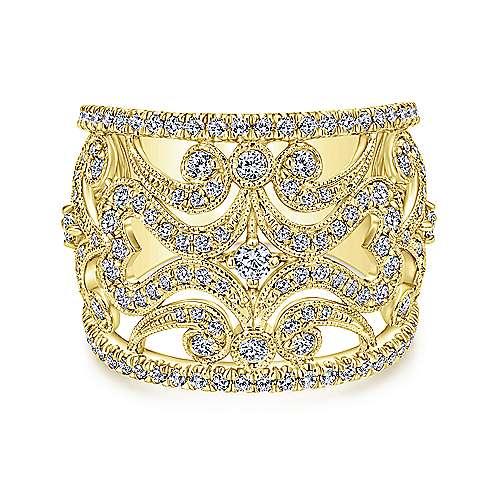 Gabriel - 14k Yellow Gold Victorian Fashion Ladies' Ring