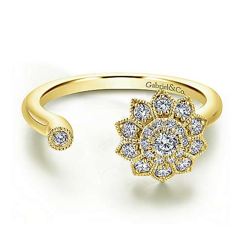 Gabriel - 14k Yellow Gold Clustered Diamonds Fashion Ladies' Ring