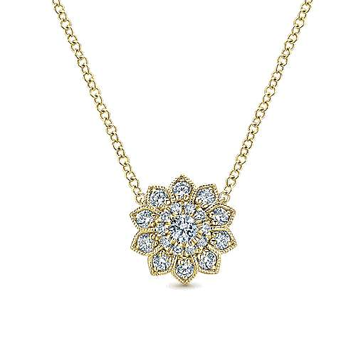 14k Yellow Gold Clustered Diamonds Fashion