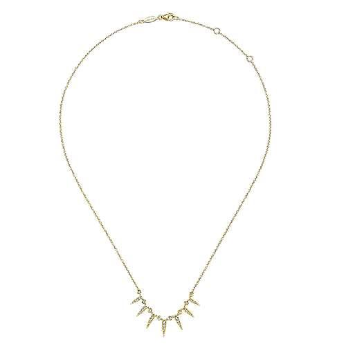 14k Yellow Gold Diamond Fashion Necklace angle 2