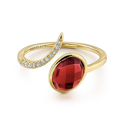 14k Yellow Gold Diamond Garnet Fashion Ladies