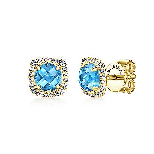 14k Yellow Gold Diamond Halo & Swiss Blue Topaz Stud Earrings
