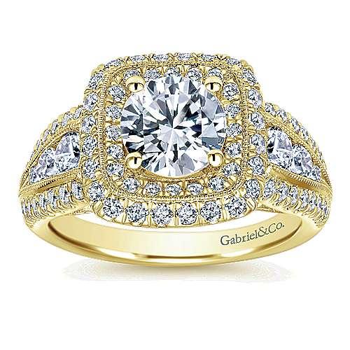 14k Yellow Gold Diamond Halo Engagement Ring angle 5