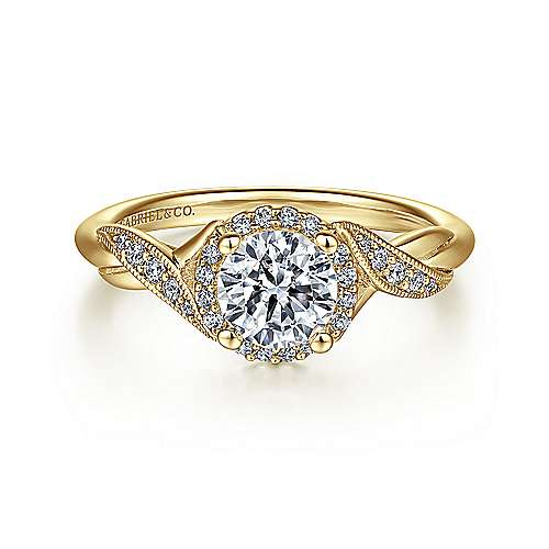 14k Yellow Gold Diamond Halo Engagement Ring angle 1