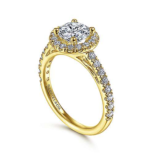 14k Yellow Gold Diamond Halo Engagement Ring angle 3