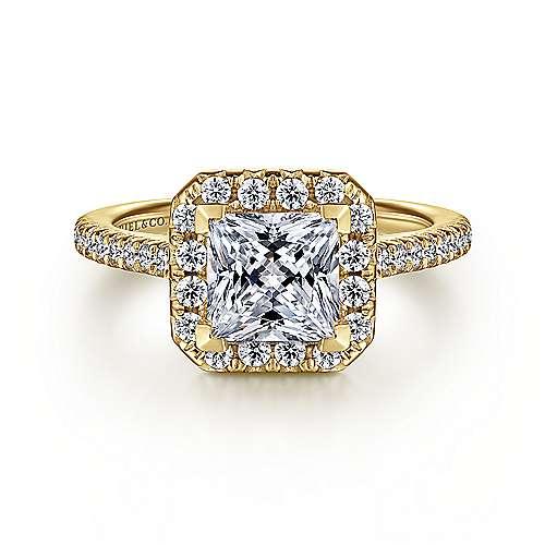 Gabriel - 14k Yellow Gold Princess Cut Halo Engagement Ring