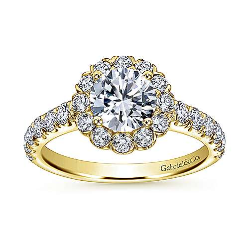 14k Yellow Gold Diamond Halo Engagement Ring angle 5