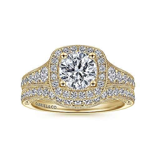 14k Yellow Gold Diamond Halo Engagement Ring angle 4